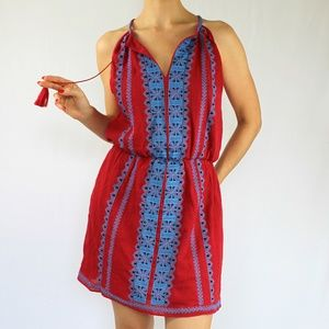 VENUS Embroidered Dress, Red & Blue NWOT